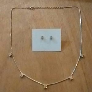 Sterling silver cubic zirconia inlaid set (2 )
